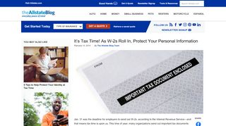 It's Tax Time! As W-2s Roll In, Protect Your Personal ... - Allstate