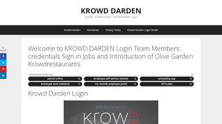 Krowd - Krowd Darden - Krowd Darden Login - Olive Garden
