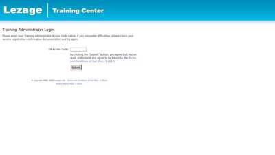 Lezage Training Center · Training Administrator Login
