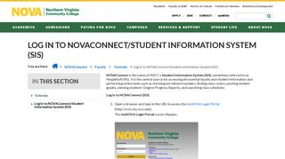 Log In to NOVAConnect/Student Information System (SIS ...