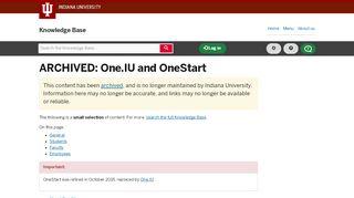 Logging into OneStart - Indiana University Knowledge Base