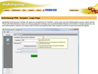 Login - GoAntiquing! POS - Product Information
