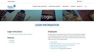 Login  Johnson Controls
