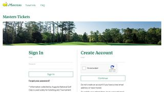 Login - Tickets - The Masters