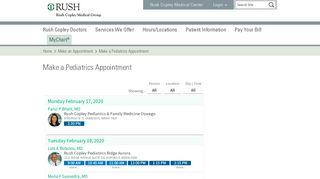 Make a Pediatrics Appointment - Rush Copley Medical Center
