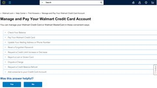 Manage and Pay Your Walmart Credit Card Account