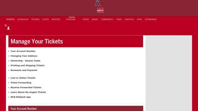 Manage Your Tickets  Los Angeles Angels