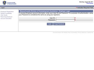 Massachusetts Division of Unemployment Assistance - Employer Log In