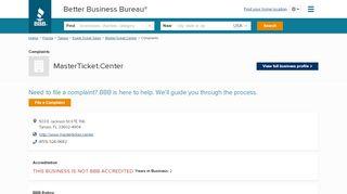 MasterTicket.Center   Complaints   Better Business Bureau ...