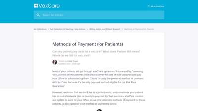 Methods of Payment (for Patients)  VaxCare Help Center