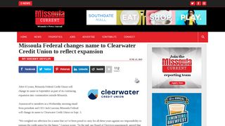 Missoula Federal changes name to Clearwater Credit Union ...