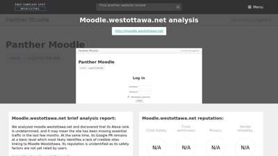 Moodle Westottawa. Panther Moodle: Log in to the site