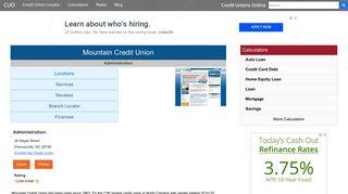 Mountain Credit Union - Waynesville, NC - Credit Unions Online