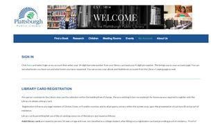 My Account - Plattsburgh Public Library