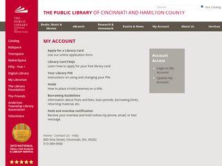My Account - The Public Library of Cincinnati and Hamilton County