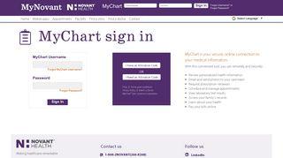 MyChart sign in | Novant Health - MyNovant