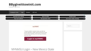 MYNMSU Login - New Mexico State University Student ...