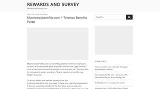 Mytennecobenefits.com - Tenneco Benefits Portal