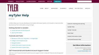 myTyler Help   John Tyler Community College