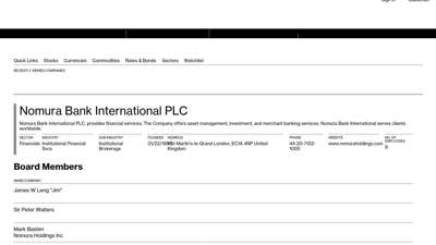 Nomura Bank International PLC - Company Profile and News ...