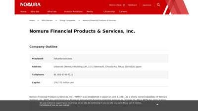 Nomura Financial Products & Services, Inc.  NOMURA