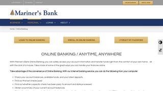 Online Banking   Mariner's Bank, NJ