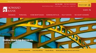 Online Banking Services   Howard Bank