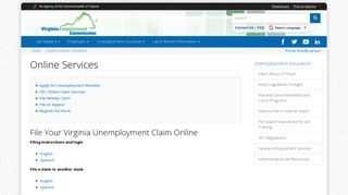 Online Services | Virginia Employment Commission