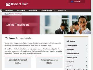 Online Timesheet Login   Robert Half Australia