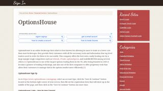 OptionsHouse Login – OptionsHouse.com Account Sign In