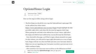 OptionsHouse Login - OptionsHouseLogin - Medium