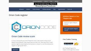 Orion Code register - BO Tested