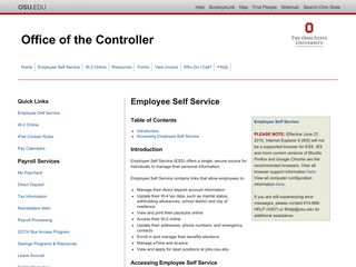 OSU - Office of the Controller - Payroll Services - Employee Self Service