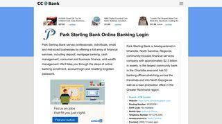 Park Sterling Bank Online Banking Login - CC Bank
