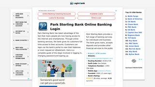 Park Sterling Bank Online Banking Login ⋆ Login Bank