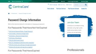 Password Change Information | Central ... - CentraCare