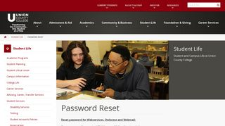Password Reset – Student Life - Union County College