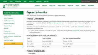 Payment Information | Wilmington University