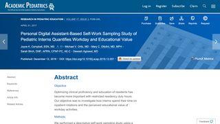 Personal Digital Assistant-Based Self-Work Sampling Study of ...