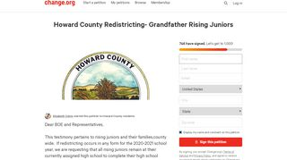 Petition · Howard County Redistricting- Grandfather Rising ...