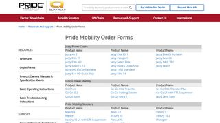 Pride Mobility Order Forms