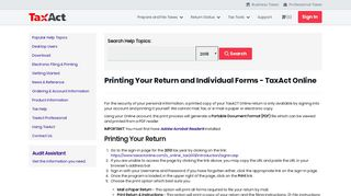 Printing Your Return and Individual Forms - TaxAct Online