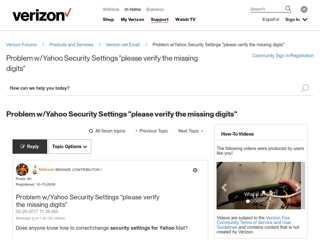 """Problem w/Yahoo Security Settings """"please verify the ..."""