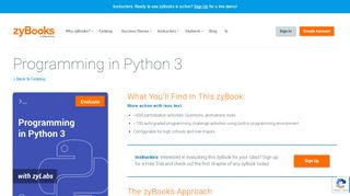 Programming in Python 3 - zyBooks