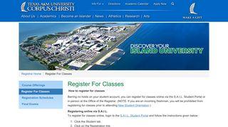 Register For Classes Texas A&M University-Corpus Christi