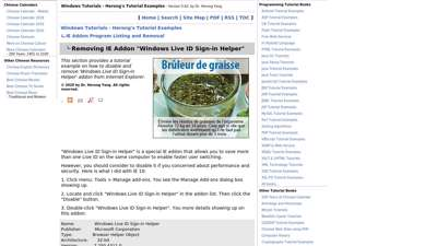 """Removing IE Addon """"Windows Live ID Sign-in Helper"""""""
