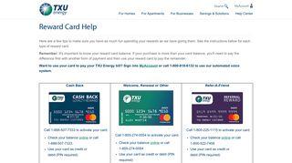Reward Card Help  TXU Energy