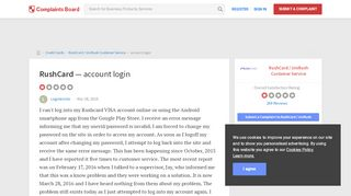 RushCard - Account Login, Review 801215 | Complaints Board