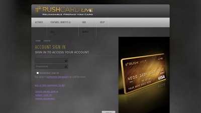 RushCard Live - Account Login