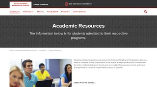 School of Health & Rehabilitation Sciences Academic Resources